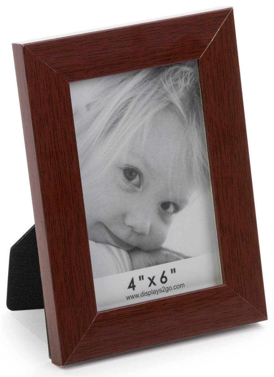 4 X 6 Plastic Picture Frame For Tabletop Or Wall Wood Veneer