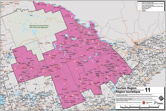 Haliburton Highlands to Ottawa Valley Tourism Region Map Canada