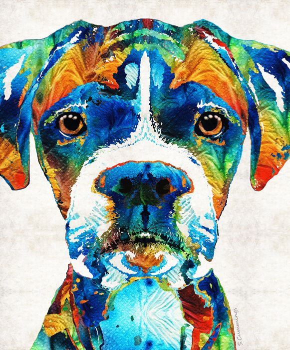 """""""Colorful Boxer""""  Mixed Media Dog Art Collage Painting  Sharon Cummings  2015"""