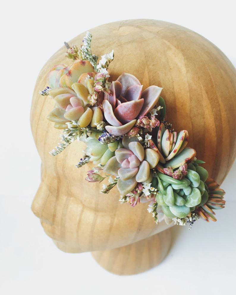Succulent Bridal Halo // Succulent Crown // Purple and