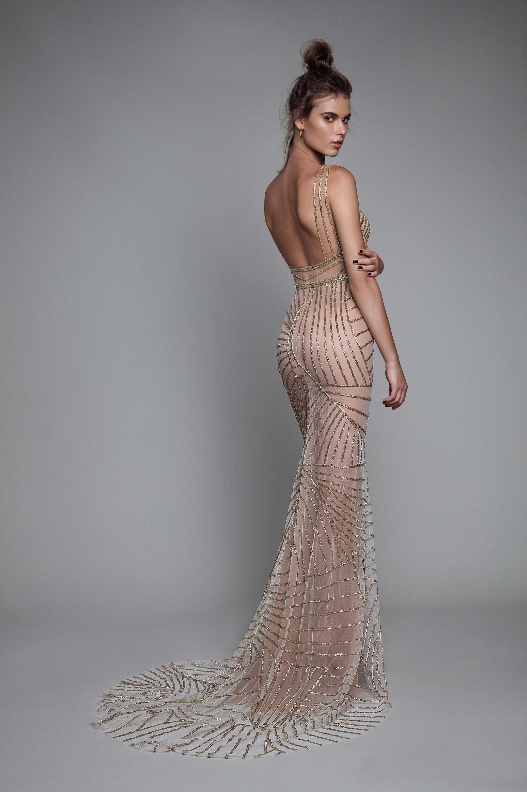 Backless gold and beige evening dress (Fall Winter 2017 Collection from  Berta) 5f3357aa03fc