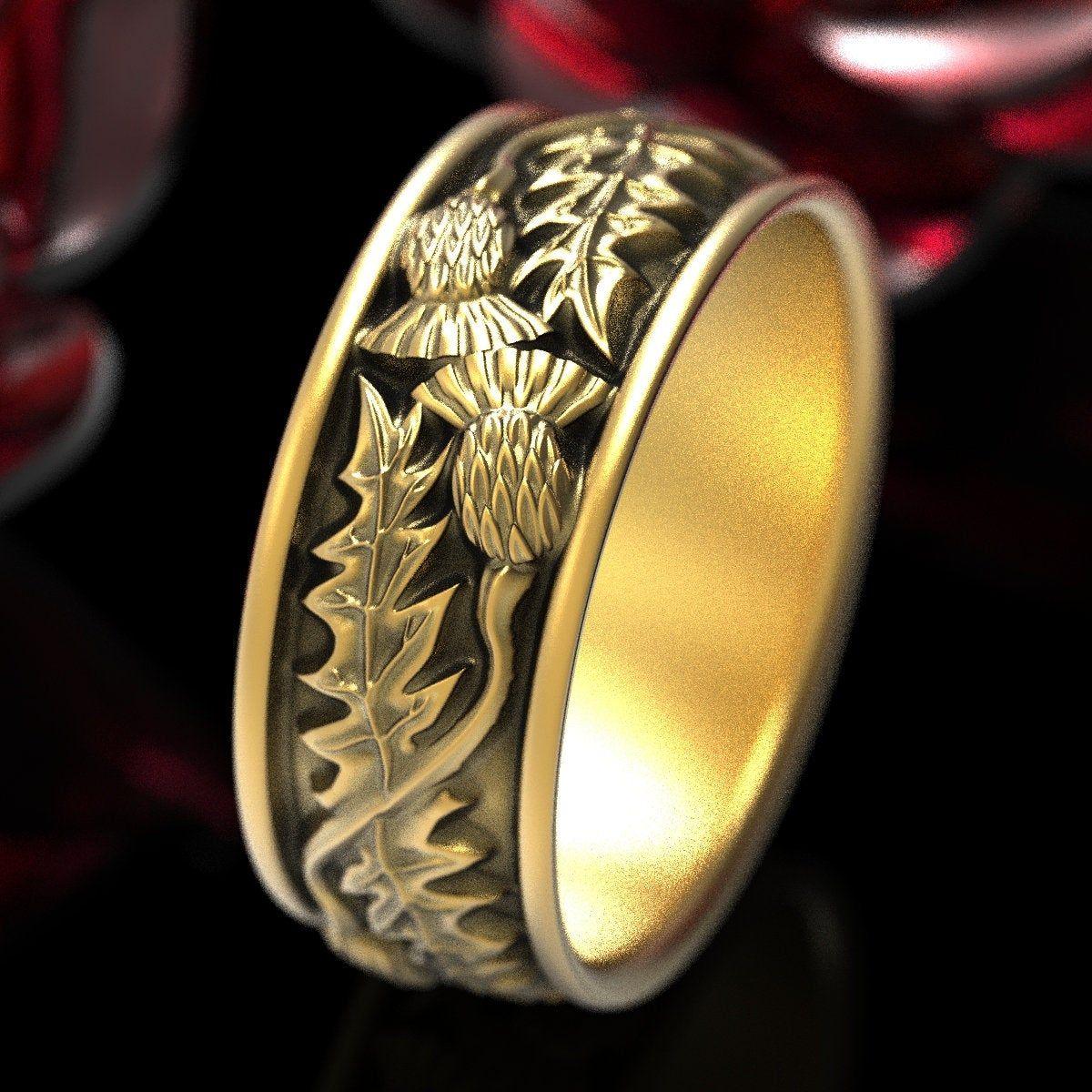 Gold Thistle Ring, Scottish Ring made in 10K 14K or 18K