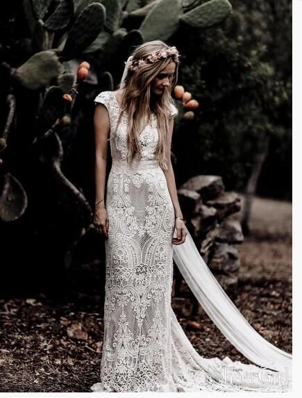 Vintage Lace Rustic Wedding Dresses Cap Sleeve Sheath Boho Wedding Dress from Babybridal 1