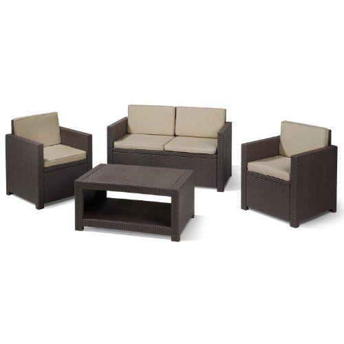 Lounge Sessel Rattan Gunstig , Allibert Lounge Set Monaco 2 Sessel 1 Sofa 1 Tisch