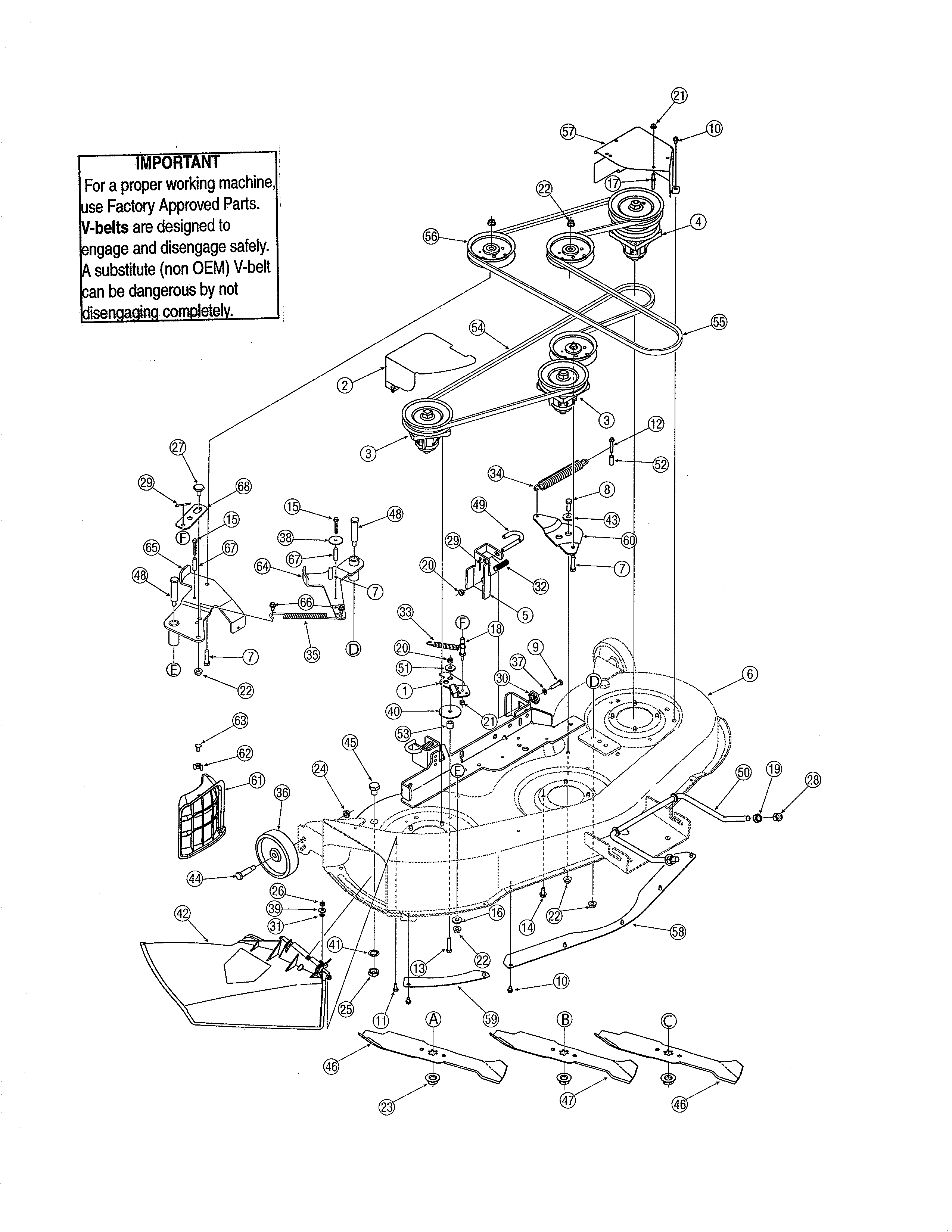 46 deck manual pto diagram parts list for model 13ap605h755 yardman parts riding mower tractor parts searspartsdirect [ 2550 x 3300 Pixel ]