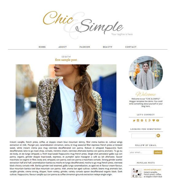 Blogger Template Premade Blog Design  Chic & by EclairDesign