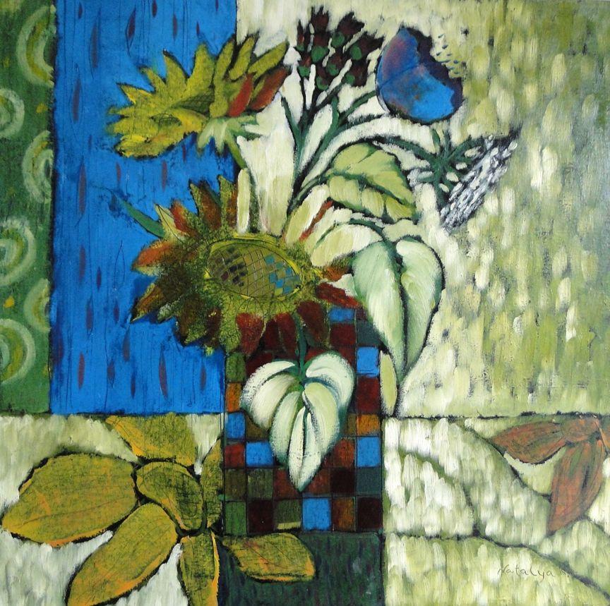 Two sunflowers by Natalya | Flower art, Painting, Art