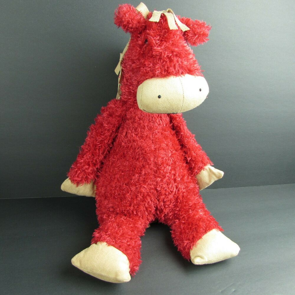 "Jellycat Red Bunglie Horse 15"" Floppy Bean Bag Plush"