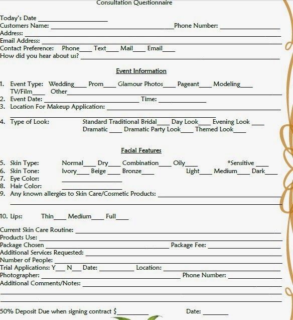 makeup consultation form template makeup consultation form template