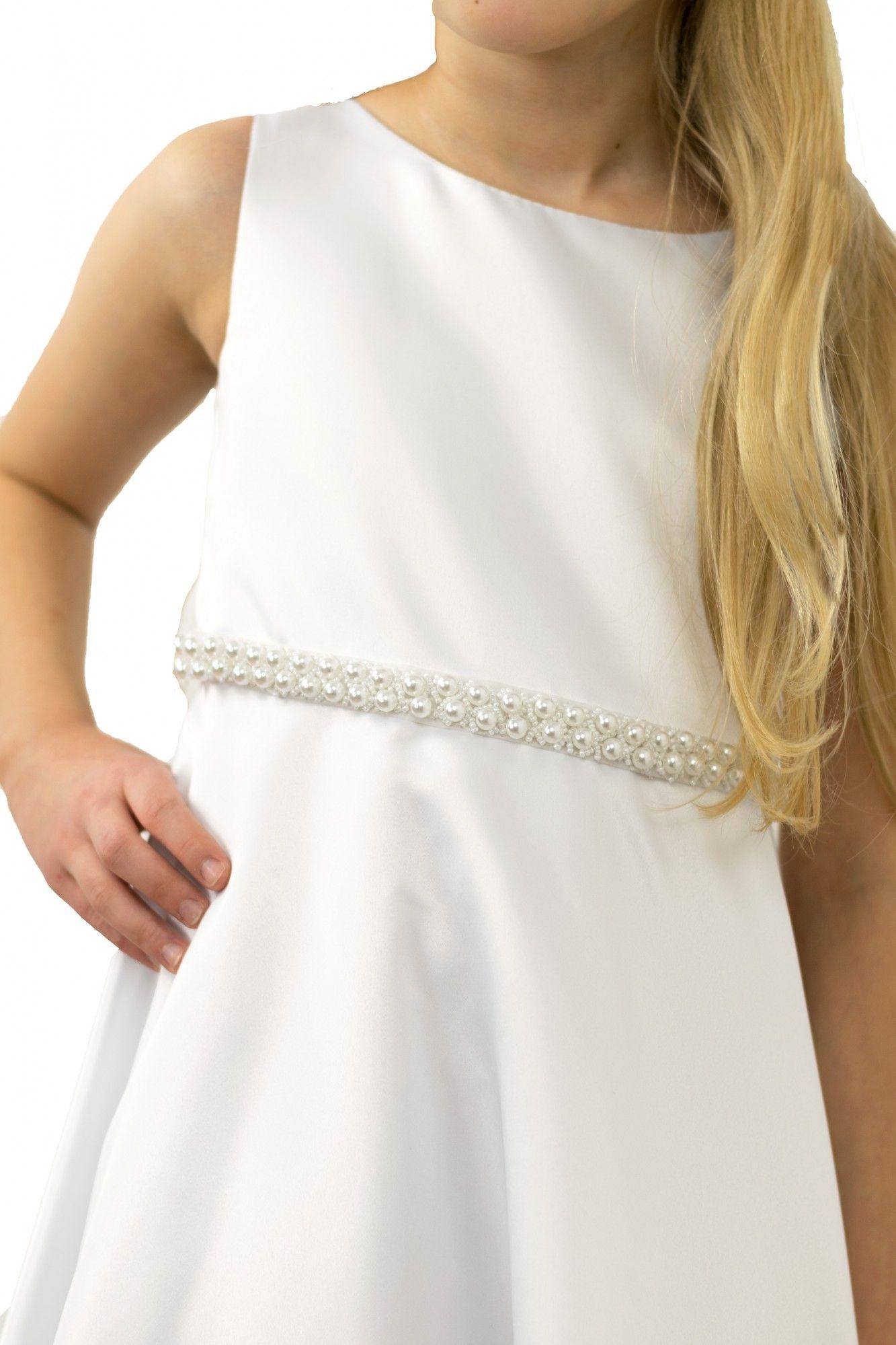 BIMARO Mädchen Kleid Anna Kommunionkleid Festkleid weiß lang ...