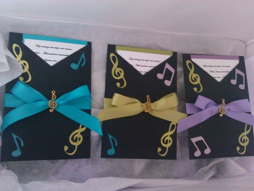 Invitaciones 15 Años Musica Music Notes Colores Azul Verde