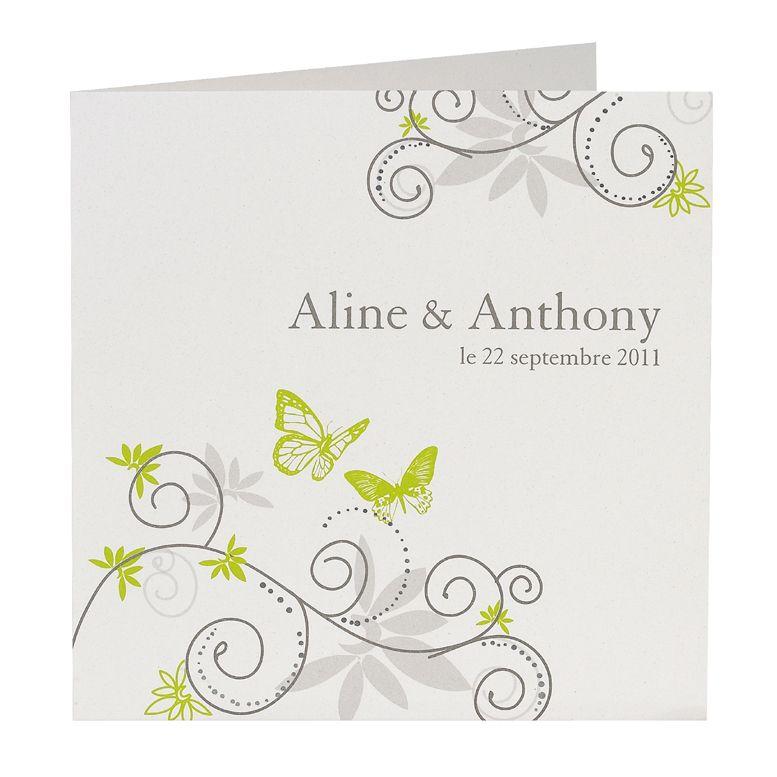 Einladungskarte mit Schmetterlingen weiß-grün quadratisch ...
