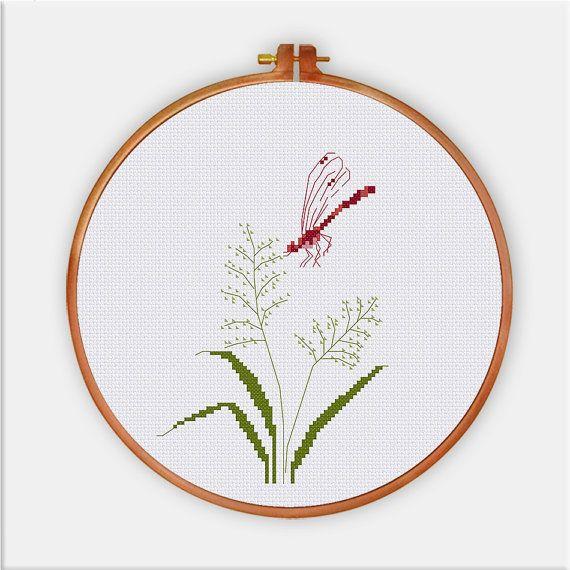 Hierba de libélula punto de cruz patrón Flores silvestres | bordado ...