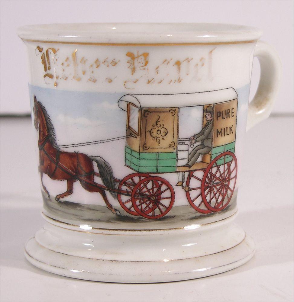 Ca1900 Hand Painted Occupational Shaving Mug Milkman Horse Drawn Milk Wagon Mugs Horse Drawn Hand Painted