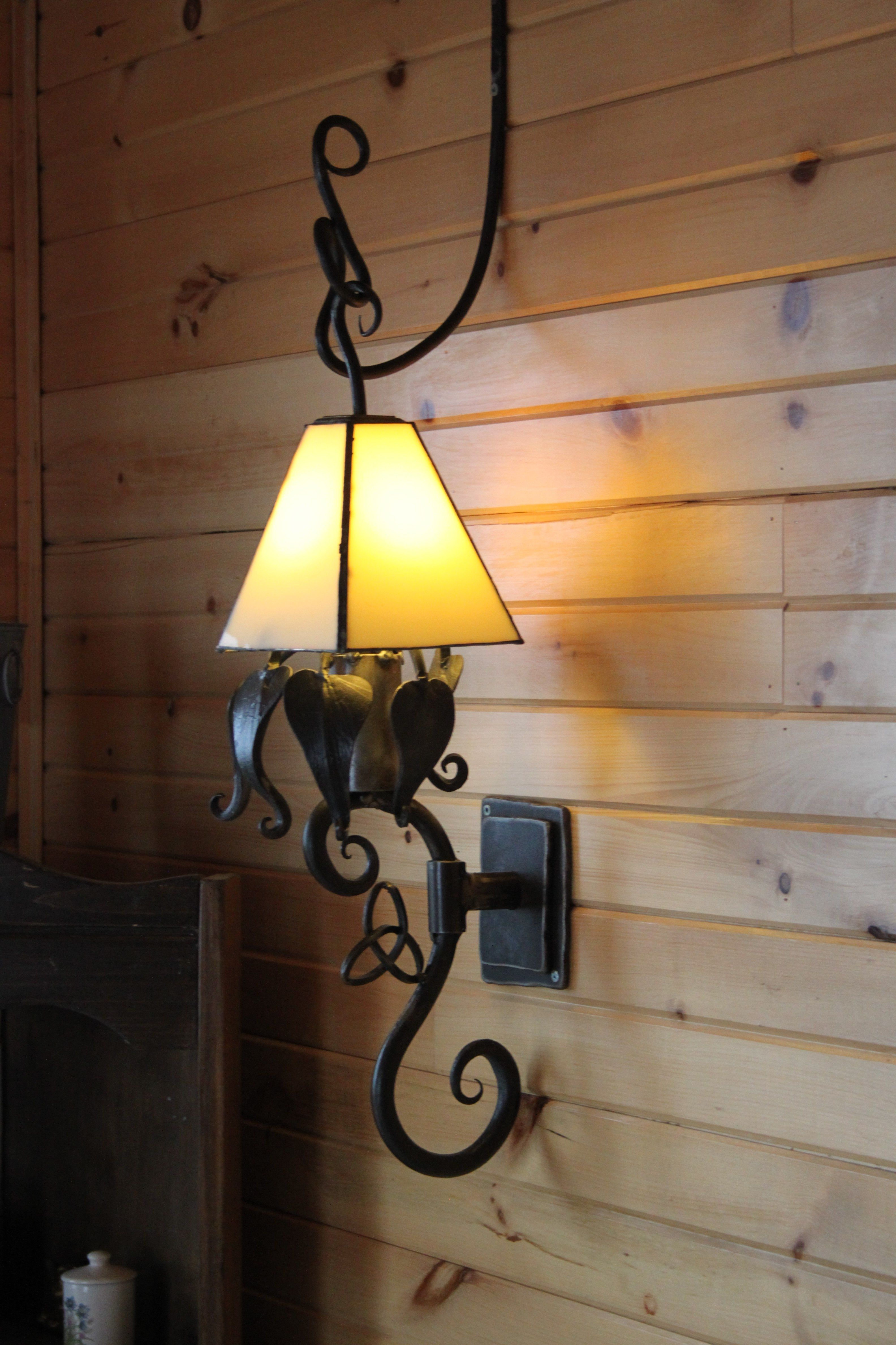 Electric Wrought Iron Wall Sconce Stained Glass Floating Shade Iron Wall Sconces Wall Sconces Iron Wall