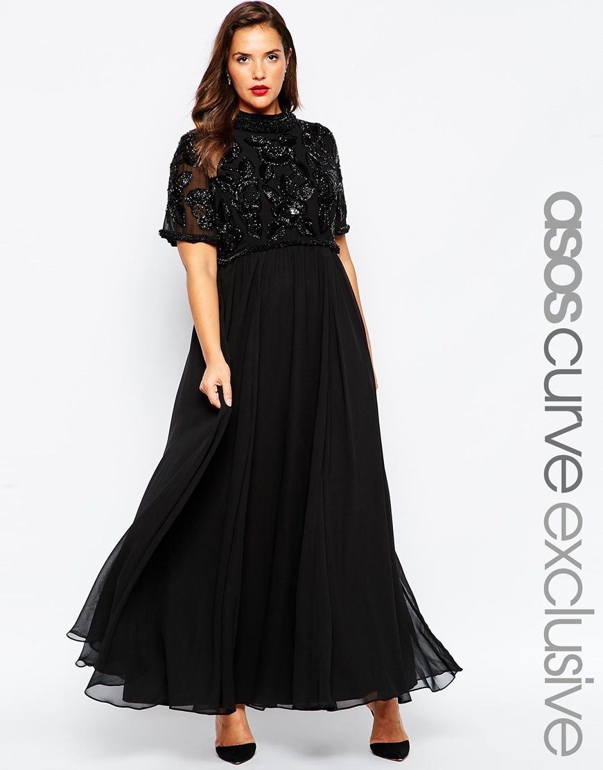 Image 1 of ASOS CURVE RED CARPET Maxi Dress with Tiered ...
