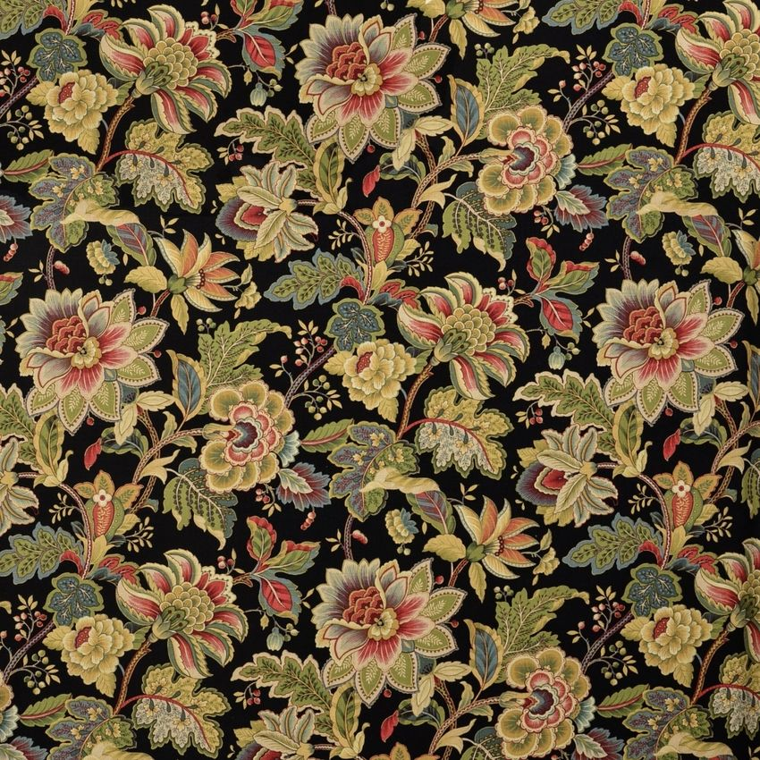 Noir Black Floral Linen Drapery And Upholstery Fabric Drapery Fabric Fabric Upholstery