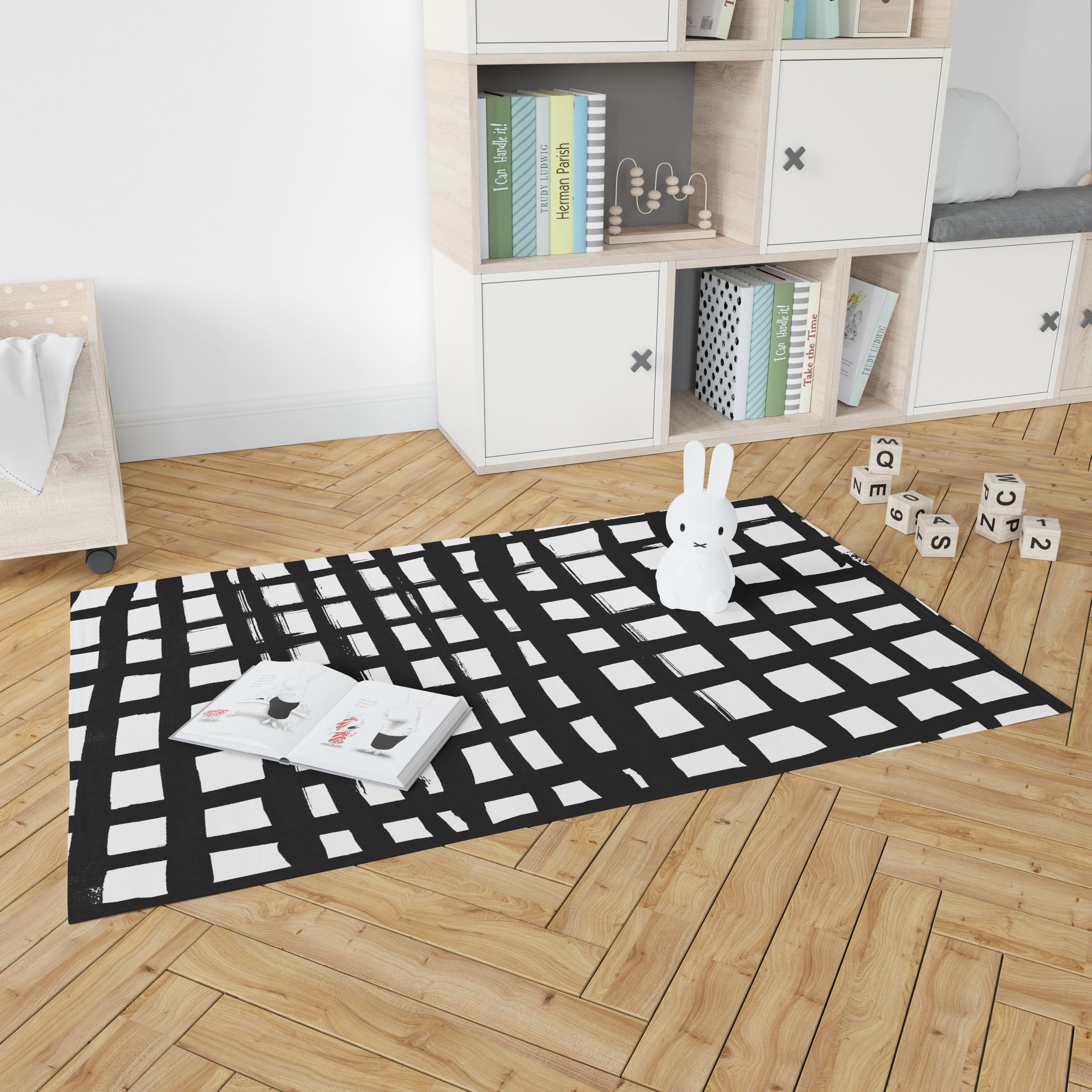 Black White Abstract Woven Nursery Rug Neutral Striped Flatweave