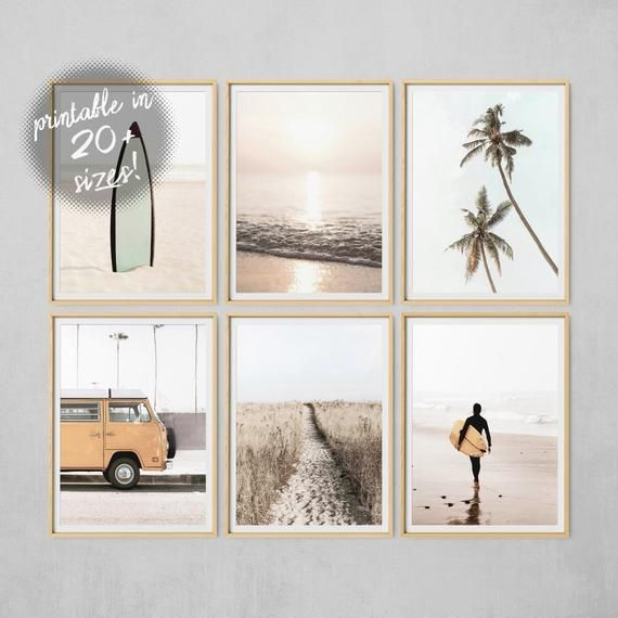 Beach Wall Art, Set Of 6 Prints, Ocean Print, Palm