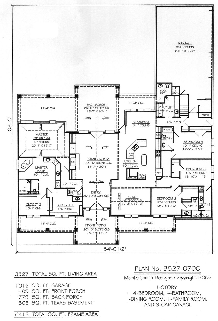 Remove bath next to bed 4 turn into 2 rooms Playroom and office – 4 Bedroom 3 Car Garage House Plans