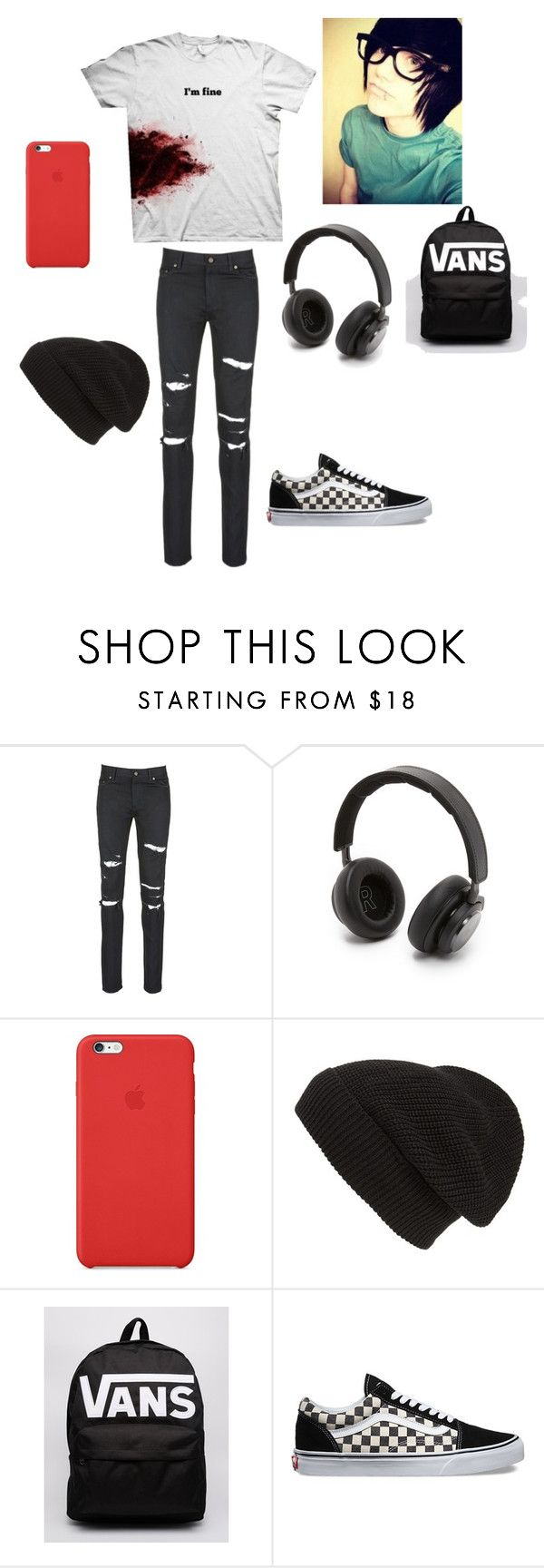 """Untitled #33"" by kawaiikitsune ❤ liked on Polyvore featuring Yves Saint Laurent, B&O Play, Apple, Phase 3, Vans, mens, men, men's wear, mens wear and male"
