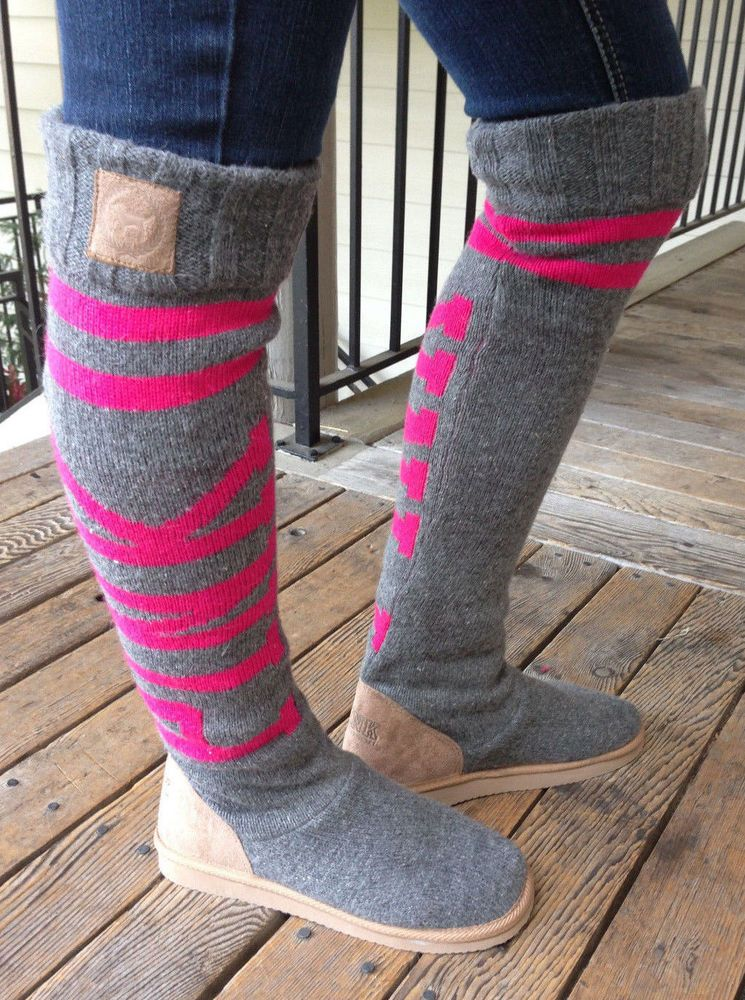 Victorias Secret Pink Mukluk High Knit Bootsslippers Gray Pink