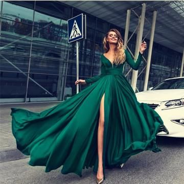 Sexy Deep V Neck Long Sleeves Prom Dresses