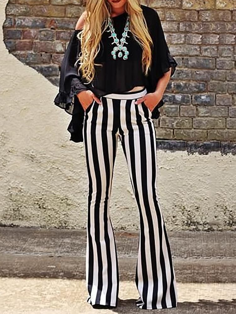 a61c858ff2eed Vertical Striped Casual Bell-Bottom Pants (S M L XL)  18.99 ...