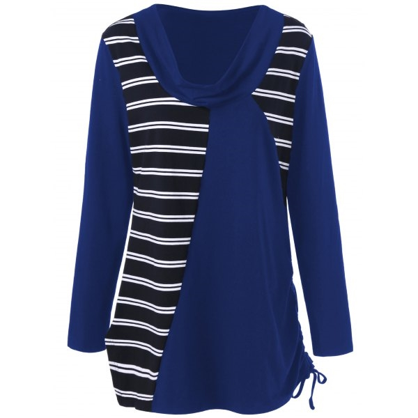 14.94$  Watch here - http://di0t4.justgood.pw/go.php?t=203392306 - Plus Size Cowl Neck Striped Tunic T-Shirt 14.94$