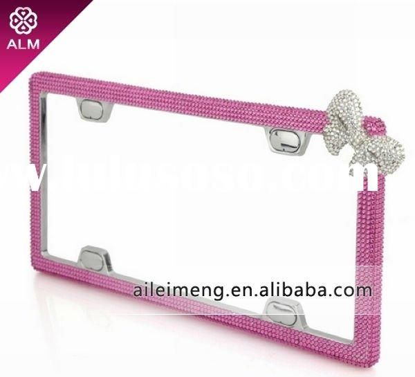 fashion crystal pink car license plate frame with swarovski ca f4 1