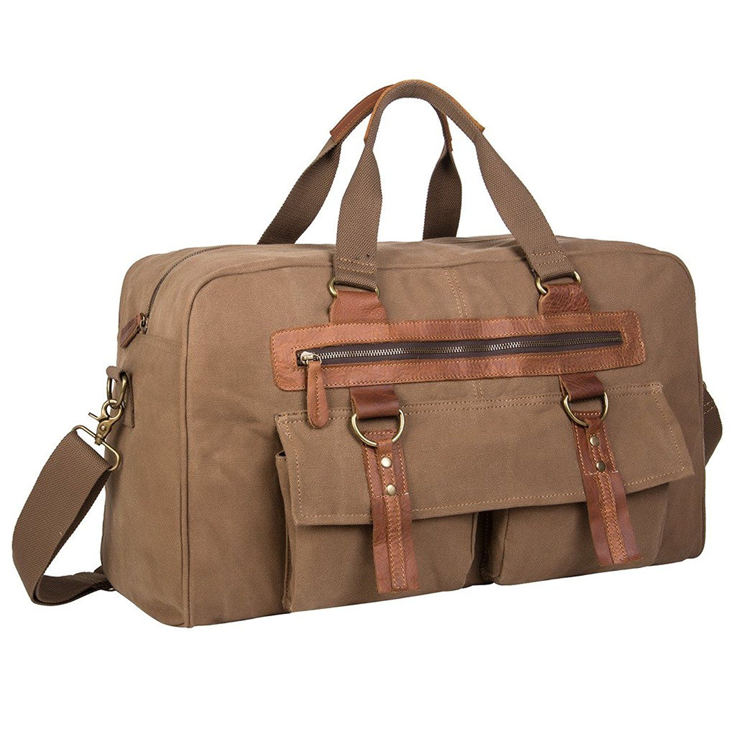 5cdb7110331de0 Coreal Large Vintage Canvas leather Travel Duffle Bag >>> Be sure to check  out this awesome product.