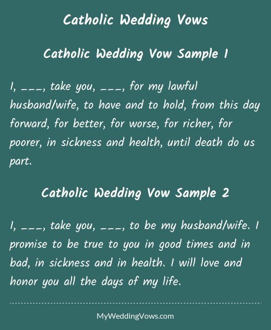 Catholic Wedding Vows Wedding Vows To Husband Traditional Wedding Vows Catholic Wedding Traditions