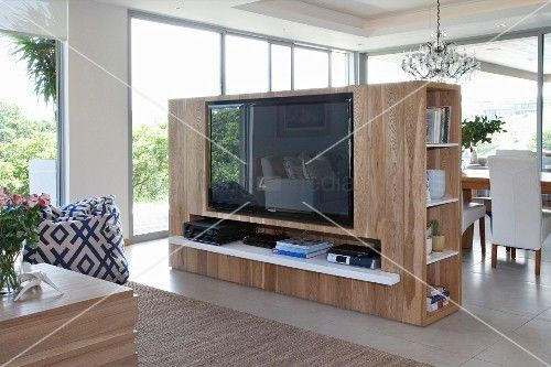 Tv möbel raumteiler  tv partition wall - different angle for TV and position of couch ...