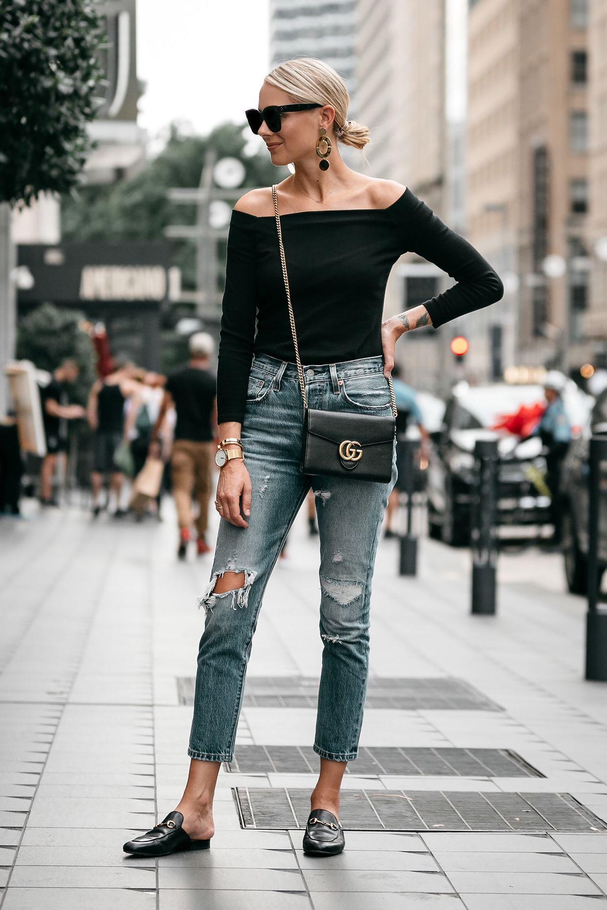 807671d13c2 Blonde Woman Wearing Jcrew black off the shoulder top Levis Denim Ripped Jeans  Gucci Marmont Handbag Gucci Princetown Loafer Mules Fashion Jackson Dallas  ...