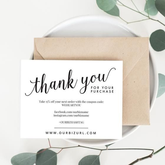 Printable Business Thank You Card Packaging Inserts Amelia - business thank you card template