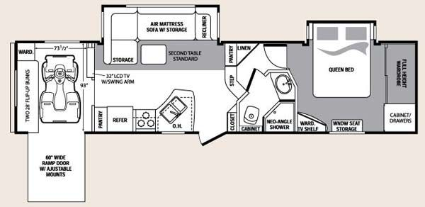 5th wheel 2 bathroom with ramp Floor Plans Used Fifth Wheels in