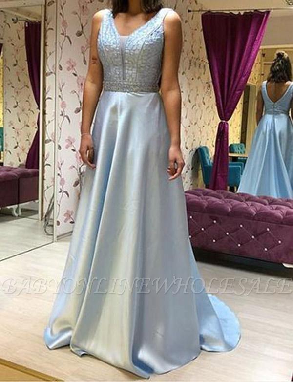 a6804447fea5 Elegant Chiffon A-Line Beading V-Neck Sleeveless Floor-Length Prom Dress