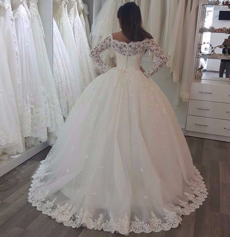 Wedding Gown Color Meanings: A363 Wedding Gowns Elegant Off The Shoulder Long Sleeves