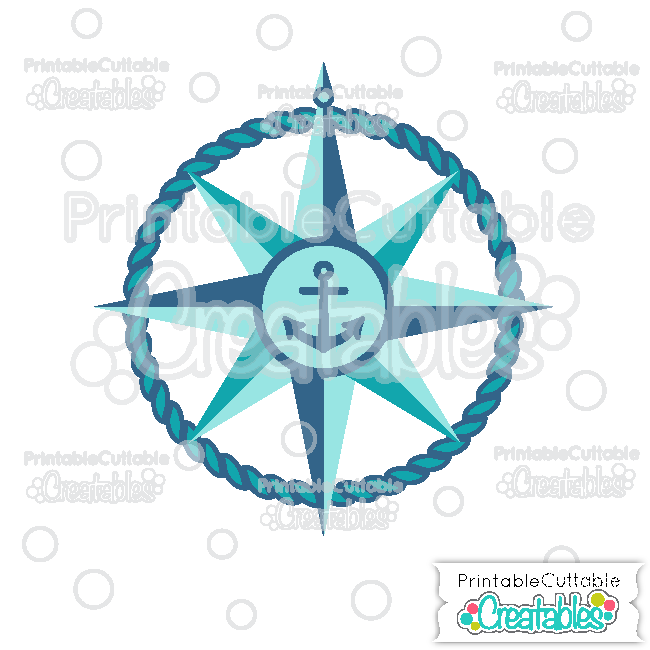 Nautical Compass Free SVG Cutting File for Silhouette
