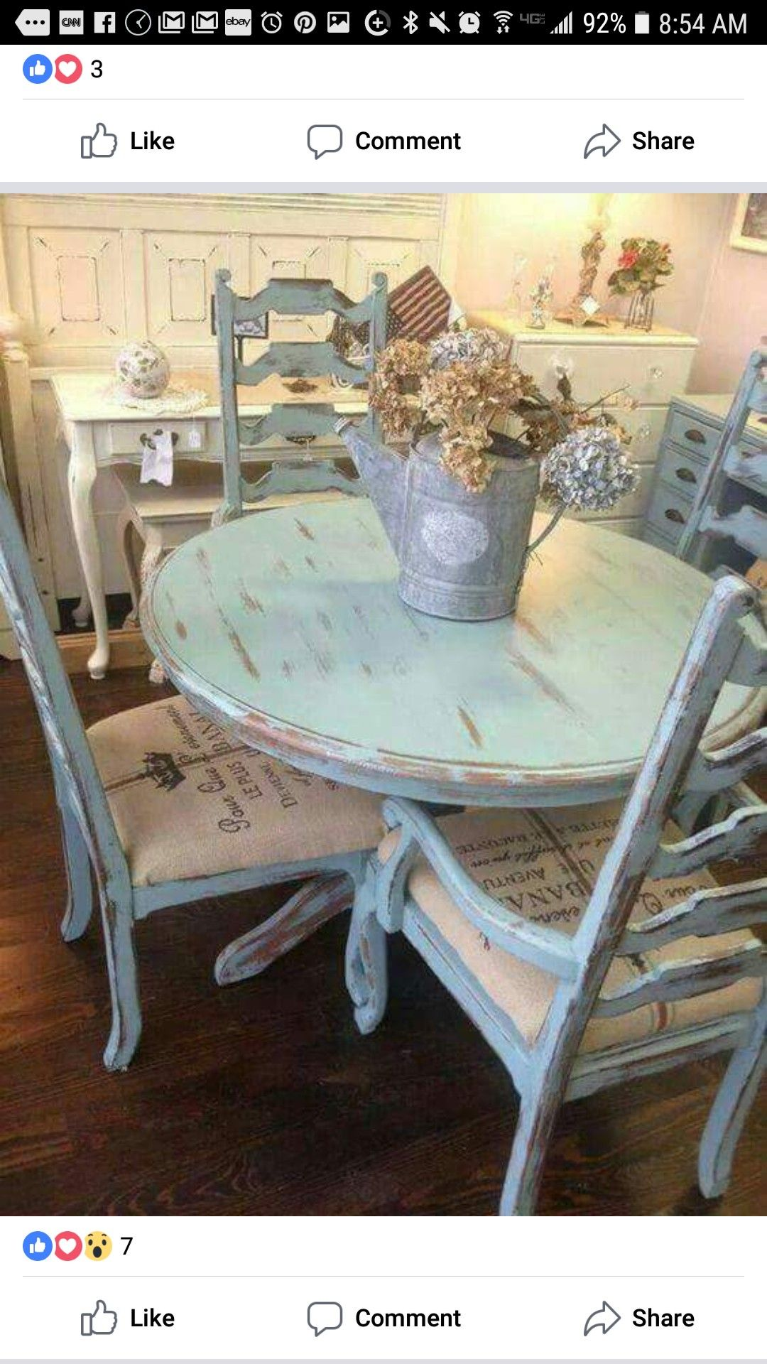 Love this shabby chic country French table and chairs. This would be ...