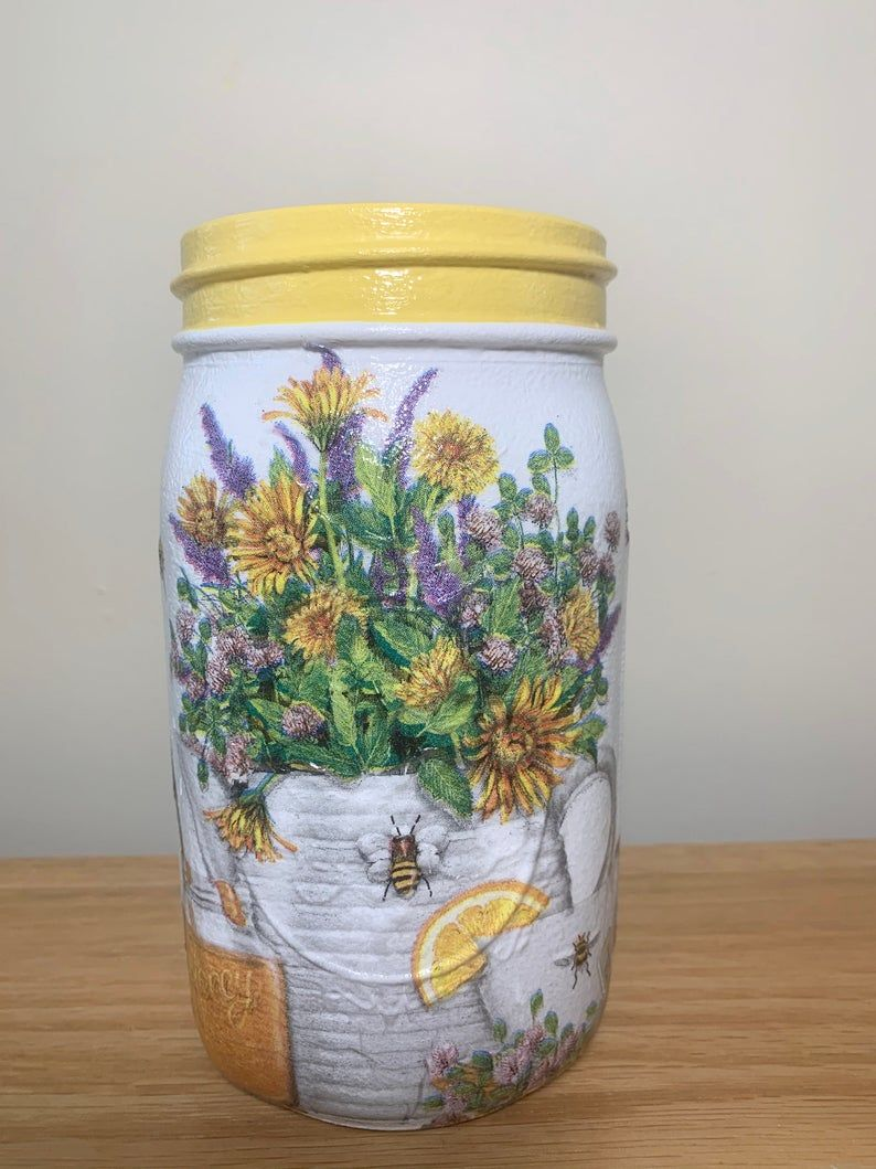 Honey Bee With Flowers Mason Jar Vase Mason Jar Centerpiece Etsy Decoupage Jars Mason Jar Decorations Mason Jar Centerpieces