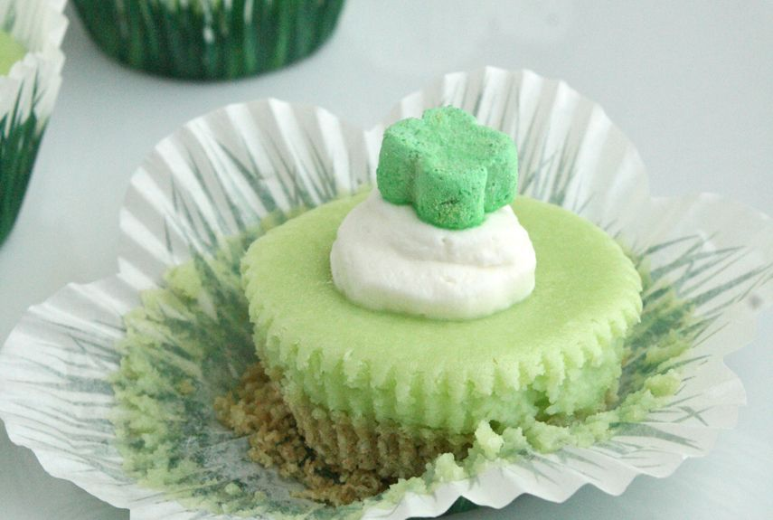 These cheery St. Patrick's Day cheesecakes, topped with a marshmallow charm, are sure to bring good luck!