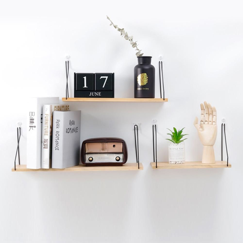 Https Fr Aliexpress Com Item Nordique En Bois Tag Re Murale Fer Partition Conseil Chambre Wooden Wall Shelves Wall Hanging Storage Wall Mounted Wood Shelves