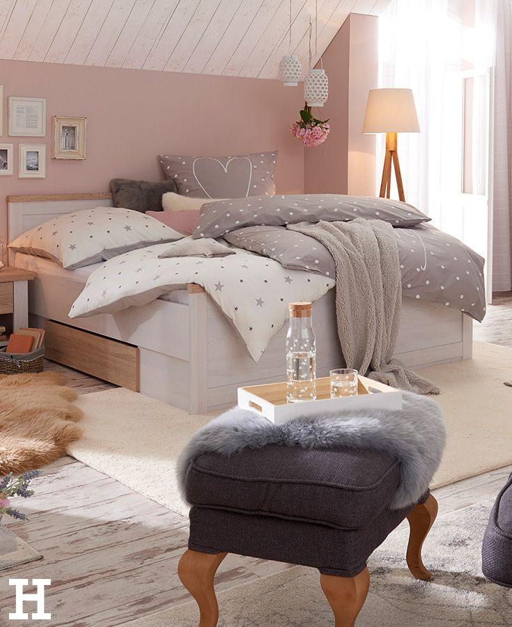 Bett mit 2 Nachtkommoden 180x200 weiß Eiche (Optik