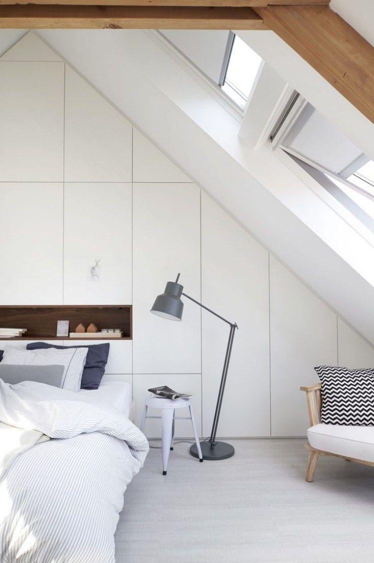 Schlafzimmer im dachboden wei er einbauschrank mit regal - Dachboden schlafzimmer ...