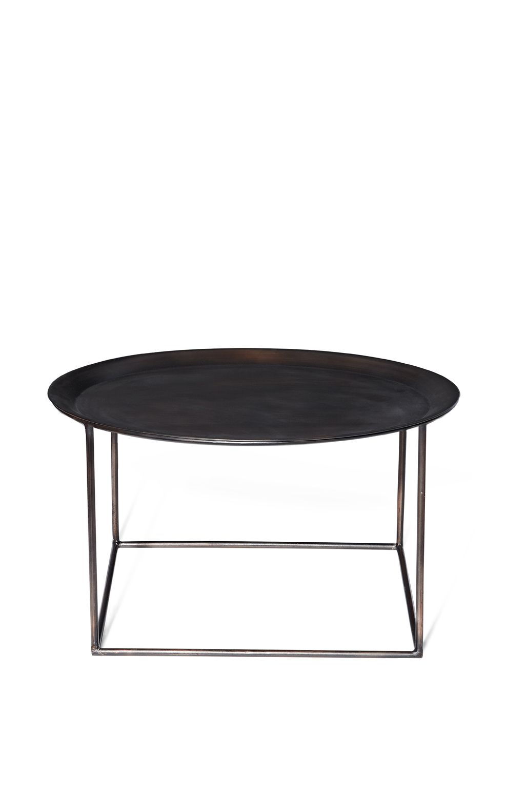 Contemporary Cappuccino Connect It Computer: Steel Coffee Table Square Base Round Table-top Antique