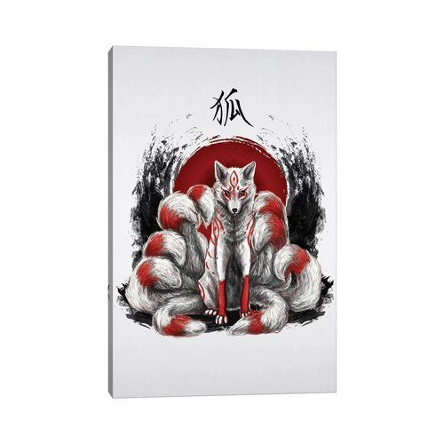 Japanese Nine Tailed Fox Kitsune by Cornel Vlad - Wrapped Canvas Graphic Art Print World Menagerie Size: 30.48cm H x 20.32cm W x 1.91cm D | Displate thumbnail