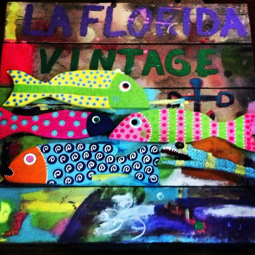 Painted Wood Fish Decor Green and Blue Folk Art | Folk art, Fish ...