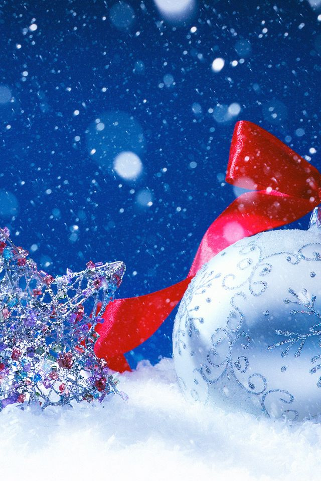 christmas star and ball decorations iphone 4s wallpaper merry