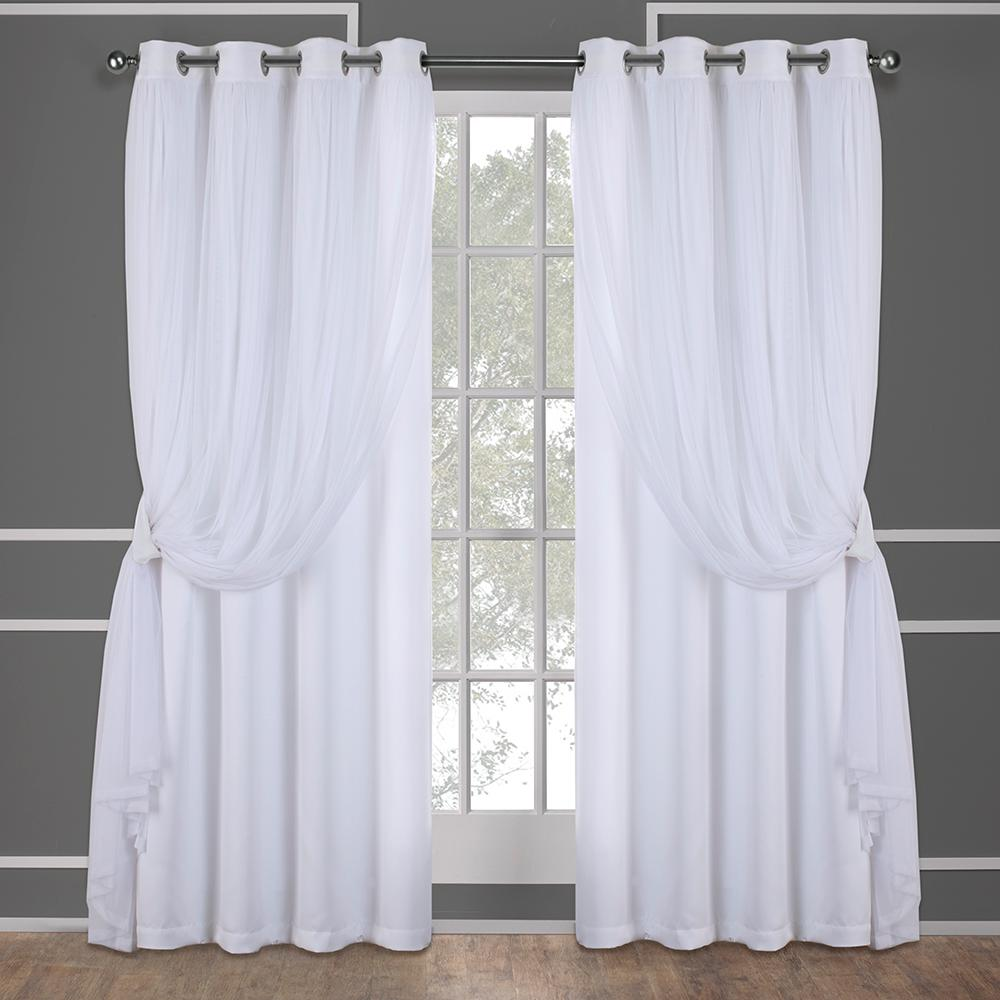 Winter White Solid Grommet Sheer Curtain 52 In W X 96 In L Set Of 2 Eh8257 09 2 96g The Home Depot Layered Curtains Grommet Top Curtains Home Curtains